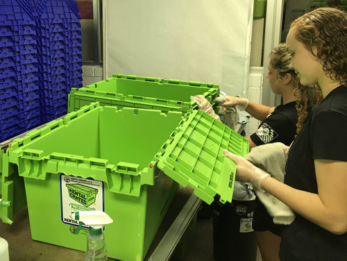 Cleaning Rental Crates Process